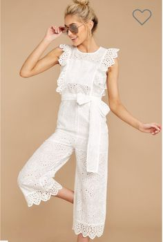 Buy Women's Jumpsuit High Waist Hollow Out Sleeveless O Neck Jumpsuit & Jumpsuits - at Jolly Chic White Lace Jumpsuit, Ruffle Jumpsuit, Jumpsuit Pattern, White Dress, White Outfits, Girl Outfits, Fashion Outfits, Long Jumpsuits, Jumpsuits For Women
