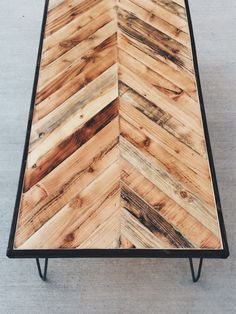 Chevron Rustic Coffee Tables With Hairpin Legs (Available) by gregripko on Etsy