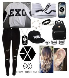 """EXO"" by karressguidycapers ❤ liked on Polyvore featuring River Island, Vans, LULUS and Otis Jaxon"
