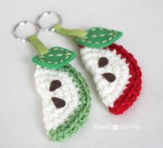 These crochet apple slice keychains made with Vanna's Choice are great for latchkey kids or teacher's gifts. Check out the pattern and tutorial by Repeat Crafter Me.