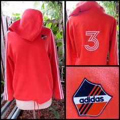 ADIDAS Ladies #3 Soccer Futbol Pullover Hoodie Sweater Sz M Orange 3 Stripes #adidas #Hoodie