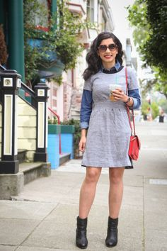 work layers with a dress and denim shirt