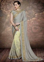 Wedding Wear Grey Chiffon Embroidered Work Saree