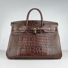 Hermes Birkin 40cm Crocodile Vein Handbags 6099 Dark Brown Golde