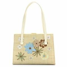 Lambertson Truex Beige Straw Embroidered Flower Frame Handbag - $79.99