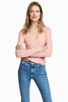 Silk-blend V-neck jumper - Powder pink - | H&M 1