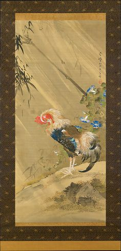 Rooster in a Storm  Sô Shizan  (Japanese, 1733–1805)  Period: Edo period (1615–1868) Date: 1783 Culture: Japan Medium: Hanging scroll; ink, color, and gold on silk