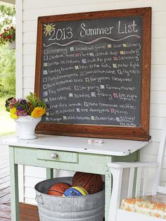 Use a chalkboard to make a family fun to-do list for the summer. #hgtvmagazine http://www.hgtv.com/decorating-basics/a-farmhouse-filled-with-unique-projects/pictures/page-22.html?soc=pinterest