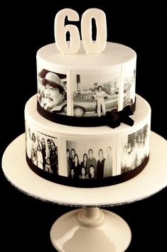 """I know we aren't planning on a cake, but would a fake one with photos on it like this just for the table be tacky? Then when they bring the dessert maybe they put a similar """"60"""" on his... to keep the theme going. Or are we reminding him too much that he's 60? Haha."""