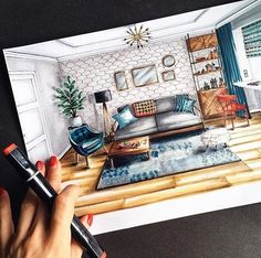 Living Room. Interior Design Sketches. By Natalia Pristenskaya.
