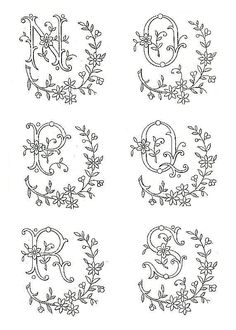 A flowery alphabet (A thru S) on the Embroidery of Yesteryear website Embroidery Alphabet, Embroidery Monogram, Silk Ribbon Embroidery, Hand Embroidery Patterns, Cross Stitch Embroidery, Machine Embroidery, Monogram Fonts, Monogram Letters, Fancy Letters