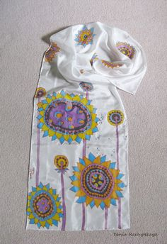 Hand painted silk scarf. 100% silk. Blue. Yellow. Lilac. White.   Size 60'' x 15''.