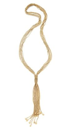Rosena Sammi Jewelry - Ceremony Necklace: This multi-strand, beaded brass necklace is detailed with a bell-trimmed tassel.