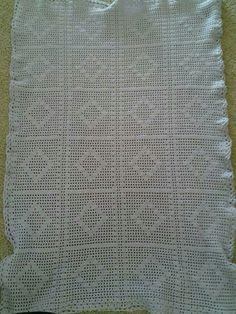Diamond baby girl crochet blanket.