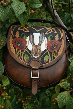 Lundy Bags - small sporran sized shoulder bag with secure inside pocket and hare with poppies design. Amazing work!