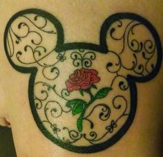 Disney Mickey Mouse and beauty and the beast tattoo
