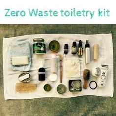 Everything you need in your bathroom. Minimalist, lightweight toiletry kit for the zero waste voyage