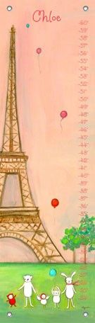 """We're in Paris"" personalized kids growth chart by Creative Thursday by Marisa for Oopsy daisy, Fine Art for Kids $49"