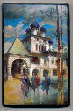 "Mikhail Sheluhin ""The Church In Kolomnenskoe"" - box, Fedoskino lacquer technique. $2320.00 (Version Two)"