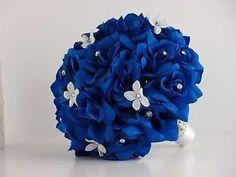 Large Bridal Bouquet Wedding Silk Flower Horizon Royal Blue Rose Rhinestone | eBay
