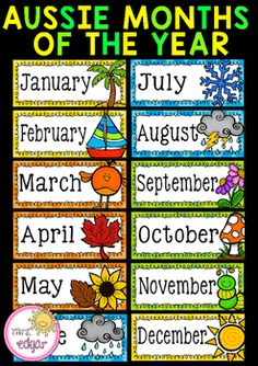 Australian Months of the Year: Twelve months of the year posters to hang in your class. Each month displays a corresponding picture to match the season.These months of the year posters display Australian seasons only.***This product is part of a money saving bundle!***CLICK HERE TO VIEW!