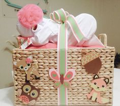 Custom Woodland Animal Diaper Baby Basket! Perfect for a baby shower gift, a baby shower centerpiece, a hospital gift or nursery decor.  Want to customize or personalize your gift? Ask us how!  Now offering hospital delivery! www.everythingandthebaby.com