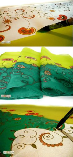 Hand Painted Silkscarf,Gift for women,pure silk shifon,long scarf,green scarf,ornaments scarf,silk painting  Hand painted silk chiffon scarf with