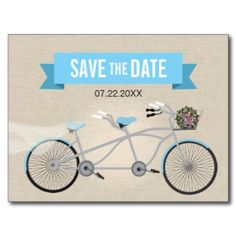Tandem Bicycle Wedding Save the Date