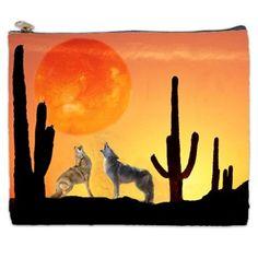 Orange and yellow coyote cosmetic bag
