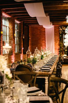 Intimate, Romantic Los Angeles Wedding, Reception Space with Long Tables | Brides.com