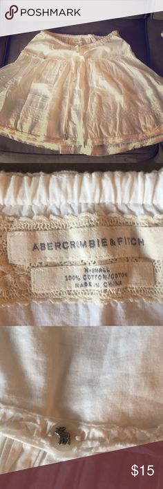 Abercrombie & Fitch cotton skirt Super cute. Off white size x-small. With drawstring top. Abercrombie & Fitch Skirts Circle & Skater