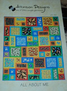 All About Me Multi Size Quilt Pattern Atkinson Designs is quick and easy quilt pattern great for beginners! Batik Quilts, Boy Quilts, Star Quilts, Scrappy Quilts, Quilt Baby, Modern Quilt Patterns, Card Patterns, I Spy Quilt, History Of Quilting