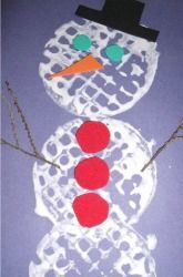 Preschool Winter Activities: Waffle Snowman...cut into heart shape and use white paint on red or purple?
