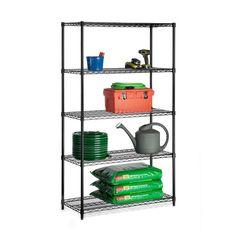 Honey-Can-Do 5-Tier Industrial Adjustable Shelf, Black