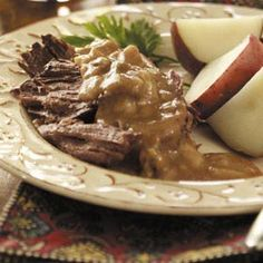 Roast Beef and Gravy Recipe  3 lb. boneless beef chuck roast  2 cans condensed cream of mushroom soup, undiluted  1/3 cup beef broth  1 envelope onion soup mix  Place in 3 qt. slow cooker.  Combine rest of ingredients; pour over roast.  Cover and cook on low 8-10 hours.