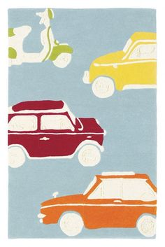 Go Go Retro Large Rug (42608) - Harlequin Rugs - A clever collaboration of retro cars and scooters.100% hand tufted new wool rug. Shown here in green, orange, red and yellow on a blue background.