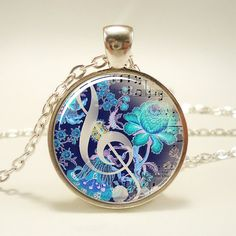 GClef Necklace Music Note Jewelry 1054S1IN by rainnua on Etsy, $14.45
