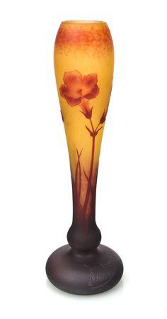 A Daum Nancy cameo glass Nicotiana vase circa 1900