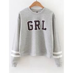 Grey Letter Print Striped Sleeve Sweatshirt ($29) ❤ liked on Polyvore featuring tops, hoodies, sweatshirts, grey sweatshirt, gray top, print sweatshirt, pullover sweatshirt and stripe top