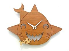 Kids Clock: Wood Shark Wall Clock for Ocean by graphicspaceswood