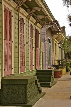 Colorful detail abounds on this row of shotgun houses - New Orleans, Louisiana