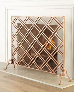 Layla Fireplace Screen, Rose Gold - Neiman Marcus