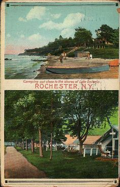 Camping on the shores of Lake Ontario Rochester NY Ontario Camping, Rochester New York, White City, Local History, Back In The Day, Old Photos, Nostalgia, Tours, Postcards