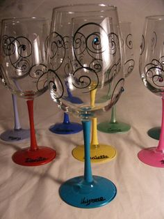 large painted wine glasses in assorted colors..we can certainly do something like this