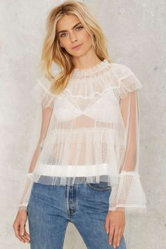 Tulle For Your Lovin' Ruffle Blouse - Clothes | Blouses