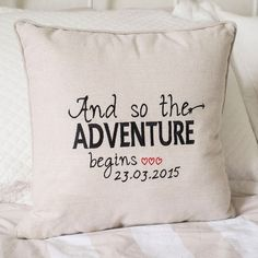 Mark the start of their adventure with this adorable, personalised cushion. Embroidered with the date of their engagement, it's a thoughtful and unusual gift for a couple who already have everything! | Personalised Natural Cushion - Adventure | GettingPersonal.co.uk
