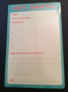 Hey Santa Christmas Wish List Paper Pad Letter Knock Knock Humorous Novelty New | eBay