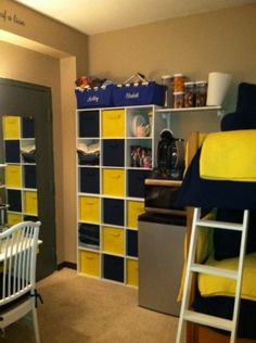 Small dorm room storage challenged!The size of the room is 12ft x 13ft about 169 square feet. It only had room for one of the desks the school provides. The challenge was creating an environment where the girls would each have a desk, storage room and some space to relax.  ! I have included both before and after pictures to give you an idea. Cube storage behind the door made a big difference!