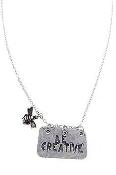 Be Creative Pendant with Bee Charm Necklace