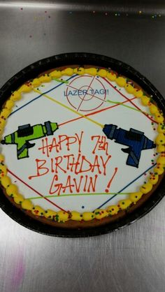 Lazer tag cookie cake I made Lazer Tag Birthday Party, Laser Tag Birthday, Laser Tag Party, Leo Birthday, Twin Birthday, Birthday Ideas, Cookie Cake Birthday, Party Time, Party Ideas